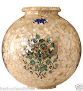 8 Marble Flower Pot Inlay Mosaic Abalone Stone Restaurant Real Decor Gift H2182