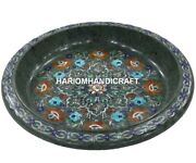 Green Marble Dry Fruit Bowl Multi Floral Marquetry Arts Inlay Kitchen Rare Gifts