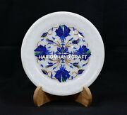 8 Marble Lapis Plate Floral Rare Inlay Marquetry Interior Art Decoration H5405b