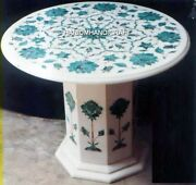 30and039and039 Marquetry Arts Marble Coffee Top Table Inlay Round Garden Decoration H4770a