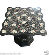 3and039x3and039 Black Marble Dining Table Top With Stand Mosaic Marquetry Decor Arts H906