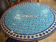 Black Marble Top Round Dining Table Turquoise Lapis Stone Inlay Semi Decor H3919