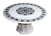 Indian White Marble With Stand Dining Table Top Abalone Inlaid Stone Work Decor