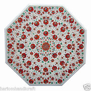 48x48 Marble Dining Table Top Carnelian Inlaid Marquetry Home Arts Decor H1778
