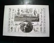 Best 19th Century Baseball Print W/ Leading Players And Game 1889 Old Newspaper