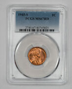 1945 S Lincoln Wheat Cent Penny 1c Pcgs Ms 67 Red Mint State Unc 821