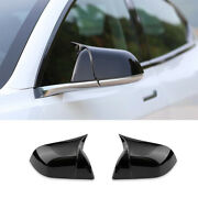 Gloss Black Horn Rear View Side Door Mirror Cover 2pc For Tesla Model 3 2017-21