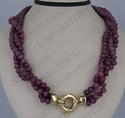 14kandnbspyellow Gold Natural Ruby Bead Necklace Three Strand With Appraisal Cert
