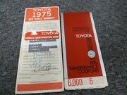 1975 Toyota Land Cruiser Owner Warranty Facts Booklet
