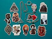 Harr Potter Gift Set Keychain Deathly Hallows Necklace Wand Waterproof Stickers