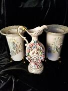 3 Matching Lefton China Hand Painted Vases With Raised Flowers
