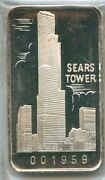 1973 Sears Tower First Nation Bank Chicago .999 Silver Art Bar 1 Oz Swiss 1959
