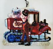 North Pole Mailman Santa Claus Is Coming To Town Glitter Christmas Ornament