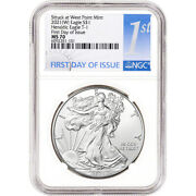 2021 W American Silver Eagle - Ngc Ms70 - First Day Of Issue - 1st Label