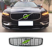 Fit For Volvo S90 2017-2021 Black Silver Front Bumper Center Hood Grill Mesh 1pc