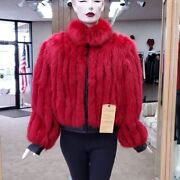 Red Dyed Fox Fur Corded Short 21 Jacket With Leather- Size 12