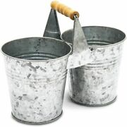 Antique Galvanized Double Bucket With Wood Handle For Decoration
