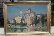 Theodor Roll 1892 - 1972 - Passau - View From Inn On Old Town - Border Frame