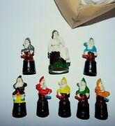 Vintage German Composition Material Clay Snow White And 7 Dwarfs Set Finger Doll