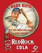 Babe Ruth Red Rock Cola Tin Sign, 12.5 W X 16 H