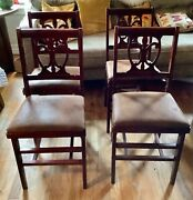 Vintage Antique Wooden Wood Folding Chairs Set Of 4