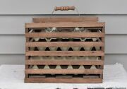 Primitive Garland Maine Twin Brook Farms Wooden Egg Crate With Divider/cartons