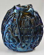 Blue Luster Vase With Lava Design By Saul Alcaraz.