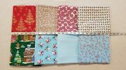 Lot Of 8 Yards Christmas Trees Candy Gingerbread House Snowmen Cotton Fabric