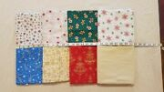 Lot Of 8 Yards Christmas Snowflaked Gingerbread Tree Swirl Sparkle Cotton Fabric