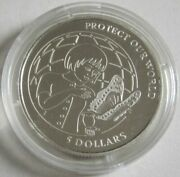 Cook Islands 5 Dollars 1992 Protect Our World Globe Silver