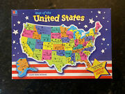 Vintage Map Of The United States Puzzle 84 Pieces By Milton Bradley. Complete.