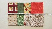 Lot Of 8 Yards Christmas Patch Holly Toss Dots Gingerbread Birds Cotton Fabric
