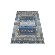 3and0391x4and0399 Gray Wool Kashkuli Gabbeh Animal Figurines Hand-knotted Rug R56452