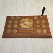 Vintage Continental Airlines Promo Statesmen Award Travel Coins Wood Plaque Pen