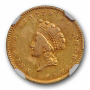 1855 G1 Gold Dollar Ngc Au 50 About Uncirculated Type Two Ty 2 Us Type