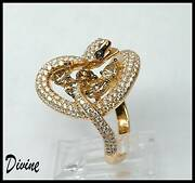 18k Ooak Yellow Gold Rich Brown White Diamond Couture Snake Reptile Ring