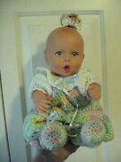 Vintage 1994 Gerber Baby Doll With Colorful Crochet Jumper And Botties And Ribbon