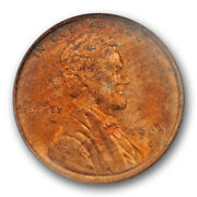 1909 S Vdb 1c Lincoln Wheat Cent Pcgs Ms 63 Rd Uncirculated Red Ogh Old Holder