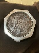 Vintage Coi Fish Silver Over Wood Box