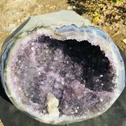 Large Amethyst Cluster Geode Calcite From Uruguay Cathedral Crystal Specimen