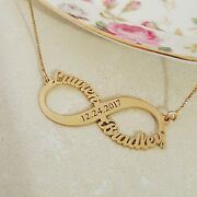 Anniversary Gift For Wife Date Infinity Symbol 2 Name Necklace Solid Real Gold
