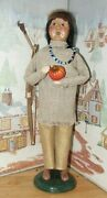 Byers Choice Native American Indian Man W Bow And Pumpkin Signed Joyce 2017