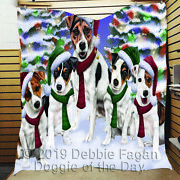 Personalized Pet Lovers Christmas Family Portrait Jack Russell Dogs Quilt