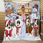 Personalized Christmas Gingerbread Cookie Shop Jack Russell Dogs Quilt