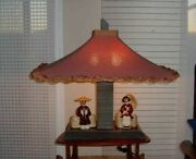 Vintage1940-1950and039s Moss Majestic Lamp Planter Original Shade Asian Figures