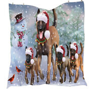Personalized Christmas Family Running Belgian Malinois Dogs Lovers Quilt