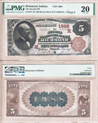 1882 Bb 5 The Second National Bank Of Richmond Indiana Fr.472 Ch1988 Pmg Vf20