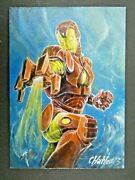 Very Rare Iron Man Marvel Sketch Card By Charles Hall 1 Of 1