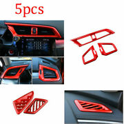 For Honda Civic 10th 2016-2020 Red Dashboard Air Outlet Vent Cover Trim 5pcs