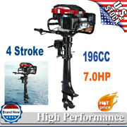 Hangkai 4stroke 7hp Outboard Motor Fish Boat Engine W/air Cooled Sys Long Shaft